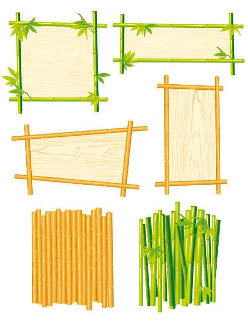 set of different of bamboo frame design vector 05 vector frames