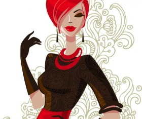 Beautiful of Fashion Girls vector graphic 04