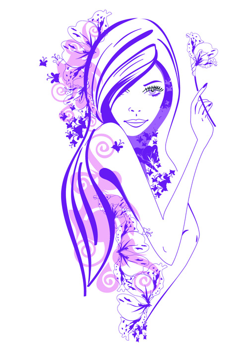 beautiful of fashion girls vector graphic 05   vector