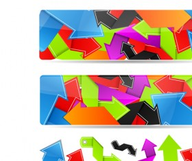 Set of Bright colored banners vector 02
