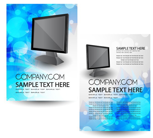 Cover brochure and Business card vector set 04