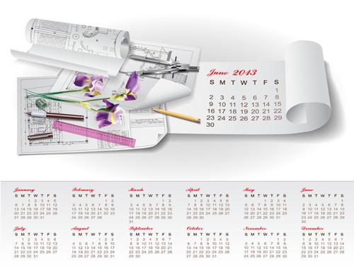 Set of Creative Calendar 2013 design vector 03