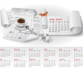 Set of Creative Calendar 2013 design vector 05