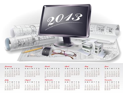 Set of Creative Calendar 2013 design vector 07