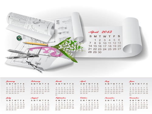 Set of Creative Calendar 2013 design vector 08