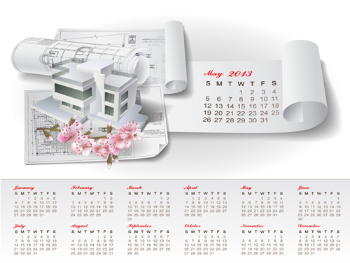 Set of Creative Calendar 2013 design vector 11