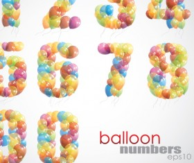 Colorful balloon Consisting of alphabet with numbers vector 02