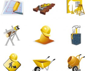 Various Builders Icons mix vector set 01
