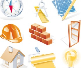 Various Builders Icons mix vector set 04