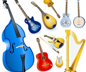 Different String Instruments elements vector set
