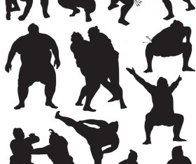 Different sumo Silhouettes vector