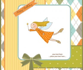 Elements of Cute baby cards background vector 02
