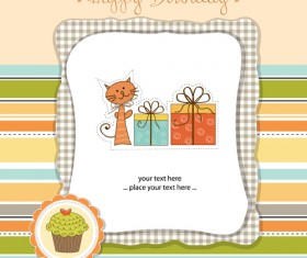 Elements of Cute baby cards background vector 03