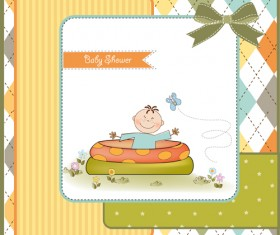 Elements of Cute baby cards background vector 04