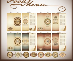 Elements of Food menu cover design vector 01