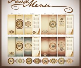 Elements of Food menu cover design vector 01