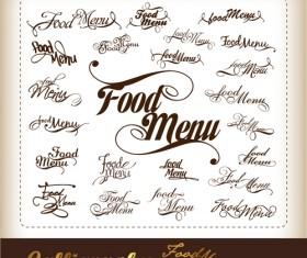Elements of Food menu cover design vector 02