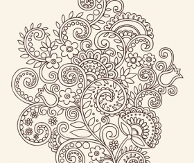 Vector graphic Flower ornaments Pattern 01