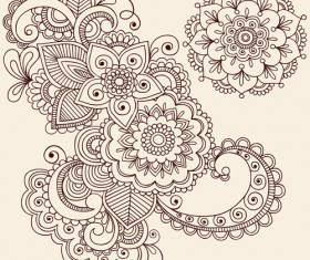 Vector graphic Flower ornaments Pattern 03