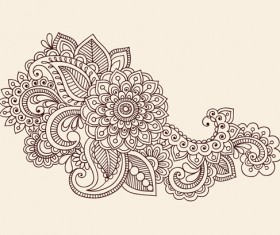 Vector graphic Flower ornaments Pattern 04