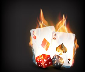 Flame elements Casino cards vector graphics 01