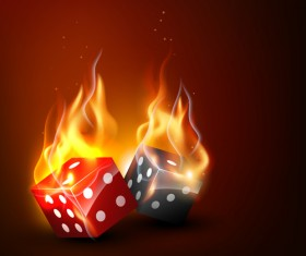 Flame elements Casino cards vector graphics 04