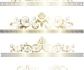 Floral Gold Ribbons Borders vector set