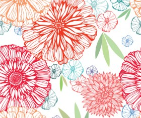 Vivid Flower pattern design vector graphic 03