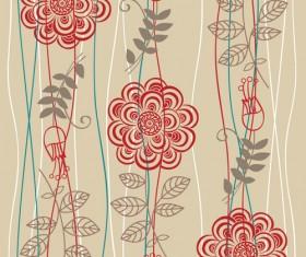 Vivid Flower pattern design vector graphic 04