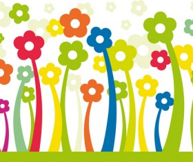 Different cartoon flower mix design vector 02