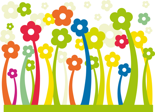 Different cartoon flower mix design vector 02