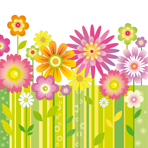 different cartoon flower mix design vector 03