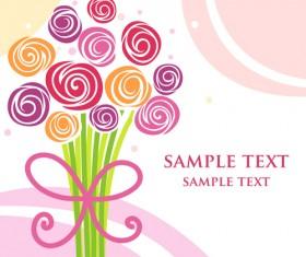 Different cartoon flower mix design vector 05