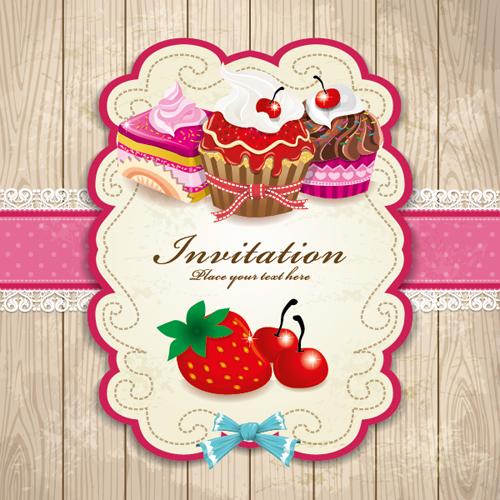 Set of Food elegant cards design elements vector 01