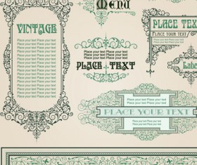 vintage style vector of Frame, border and ornament set 02
