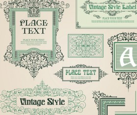 vintage style vector of Frame, border and ornament set 03