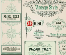 vintage style vector of Frame, border and ornament set 05