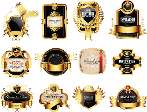 Set of Gold Luxury Labels design elements vector