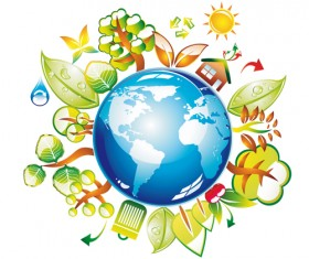 Think Green Earth design elements vector 01