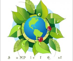 Think Green Earth design elements vector 02