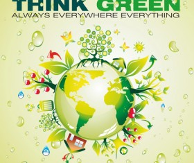 Think Green Earth design elements vector 05