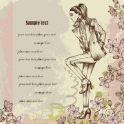 Link toHand drawn fashion woman vector background set 02