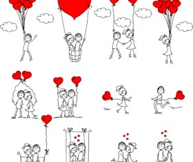 Hand drawn Romantic Love people vector
