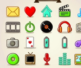 Different Hand drawn Retro icons vector graphic 01