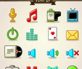 Different Hand drawn Retro icons vector graphic 02