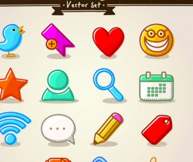 Different Hand drawn Retro icons vector graphic 03