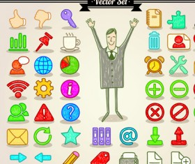 Different Hand drawn Retro icons vector graphic 04