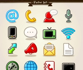 Different Hand drawn Retro icons vector graphic 06