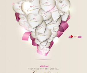 Heart and ribbons Valentine cards vector set 01