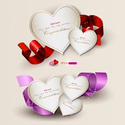 Heart and ribbons Valentine cards vector set 02